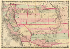 Southwest, Arizona, Colorado, Utah, Nevada, New Mexico, Rocky Mountains, Colorado, Utah and California Map By Benjamin P Ward  &  Alvin Jewett Johnson