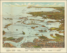 Massachusetts, Pictorial Maps and Boston Map By Union News Co.