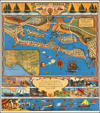 Pictorial Maps, California and Other California Cities Map By Claude Putnam