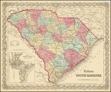 South Carolina Map By G.W.  & C.B. Colton