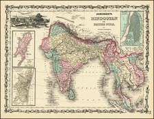 India and Southeast Asia Map By Alvin Jewett Johnson  &  Browning