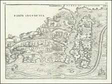 New England, Maine and Canada Map By Giovanni Battista Ramusio / Giacomo Gastaldi