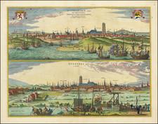 Nord et Nord-Est Map By Georg Braun  &  Frans Hogenberg