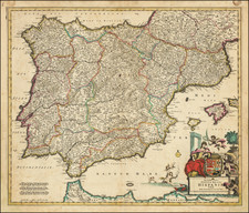 Spain and Portugal Map By Frederick De Wit