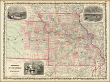 Johnson's Missouri and Kansas By Benjamin P Ward  &  Alvin Jewett Johnson