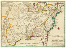 United States, South, Southeast, Midwest, Plains and Canada Map By Jacques Nicolas Bellin