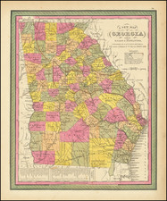 Georgia Map By Samuel Augustus Mitchell