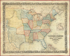 United States and Texas Map By Joseph Hutchins Colton