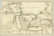 Carte des lacs du Canada. Dressee sur les manuscrits du Depost des cartes plans et journaux de la marine et sur le journal du RP. de Charlevoix ... 1744 By Jacques Nicolas Bellin