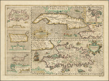 Cuba Insula [with] Hispaniola Insula [with] Insula Jamaica [with] Ins. S. Ioannis [with] I.S. Margareta Cum Confiniis    By Jodocus Hondius - Mercator