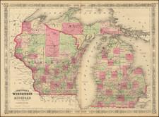 Michigan and Wisconsin Map By Alvin Jewett Johnson  &  Benjamin P Ward