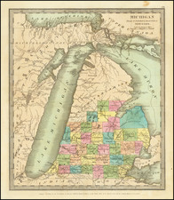 Michigan Map By David Hugh Burr
