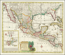 South, Texas, Southwest and Mexico Map By Emanuel Bowen