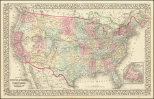 Map of the United States And Territories, Together with Canada &c.  By Samuel Augustus Mitchell Jr.
