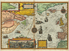 Polar Maps, Atlantic Ocean, New England, Western Europe, Iceland, Canada and Eastern Canada Map By Petrus Plancius / Cornelis Claesz