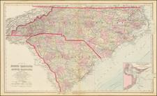 North Carolina and South Carolina Map By O.W. Gray