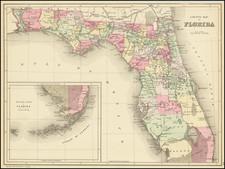 Florida Map By Samuel Augustus Mitchell Jr. / William Bradley