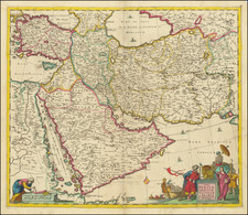 Central Asia & Caucasus, Middle East, Arabian Peninsula and Persia Map By Cornelis II Danckerts