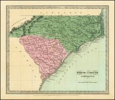 North Carolina and South Carolina Map By David Hugh Burr