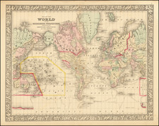 Map of the World on The Mercator Projection, Exhibiting the American Continent As Its Centre By Samuel Augustus Mitchell Jr.