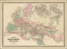 Europe, Italy and Mediterranean Map By Alvin Jewett Johnson