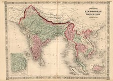 Asia, India and Southeast Asia Map By Alvin Jewett Johnson