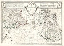 Alaska, North America, Asia and Asia Map By Giovanni Antonio Remondini