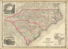North Carolina and South Carolina Map By Alvin Jewett Johnson  &  Ross C. Browning
