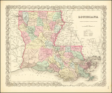 Louisiana Map By Joseph Hutchins Colton