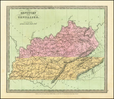 Kentucky and Tennessee Map By David Hugh Burr
