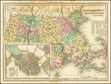 Massachusetts, Rhode Island and Boston Map By Henry Schenk Tanner