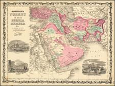 Middle East, Arabian Peninsula and Turkey & Asia Minor Map By Alvin Jewett Johnson  &  Benjamin P Ward