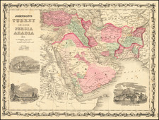 Middle East, Arabian Peninsula and Turkey & Asia Minor Map By Benjamin P Ward  &  Alvin Jewett Johnson