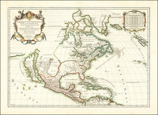 North America and California as an Island Map By Nicolas Sanson  &  Alexis-Hubert Jaillot