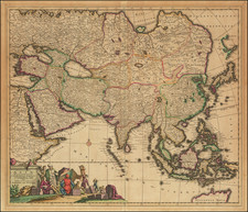 Asia Map By Theodorus I Danckerts