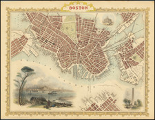 Massachusetts and Boston Map By John Tallis