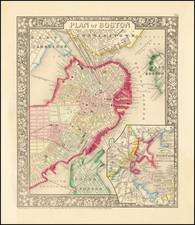 Boston Map By Samuel Augustus Mitchell Jr.