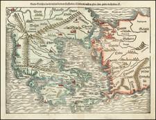 Turkey, Mediterranean, Balearic Islands and Greece Map By Sebastian Munster