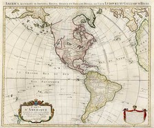 South America and America Map By Johannes Covens  &  Cornelis Mortier  &  J. Covens & Zoon