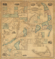 New England and Massachusetts Map By Henry Francis Walling