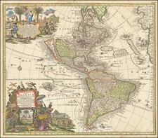 California as an Island and America Map By Matthaus Seutter