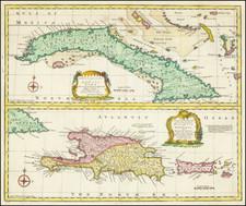Cuba, Hispaniola and Puerto Rico Map By Emanuel Bowen