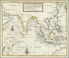 Indian Ocean, India, Southeast Asia and Philippines Map By Herman Moll