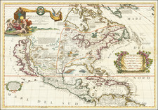 United States, North America and California as an Island Map By Vincenzo Maria Coronelli