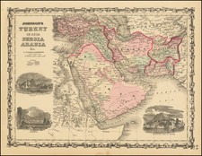 Middle East and Turkey & Asia Minor Map By Alvin Jewett Johnson  &  Ross C. Browning