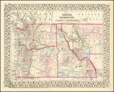 Idaho, Montana, Oregon and Washington Map By Samuel Augustus Mitchell Jr.
