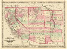 Southwest, Arizona, Colorado, Utah, Nevada, New Mexico, Rocky Mountains, Colorado, Utah and California Map By Alvin Jewett Johnson
