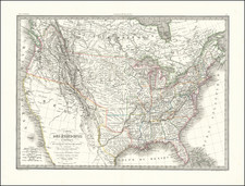 United States and Texas Map By Alexandre Emile Lapie