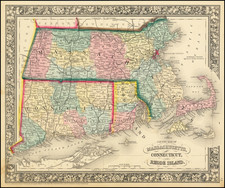 Connecticut, Massachusetts and Rhode Island Map By Samuel Augustus Mitchell Jr.