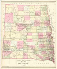 North Dakota and South Dakota Map By Samuel Augustus Mitchell Jr.